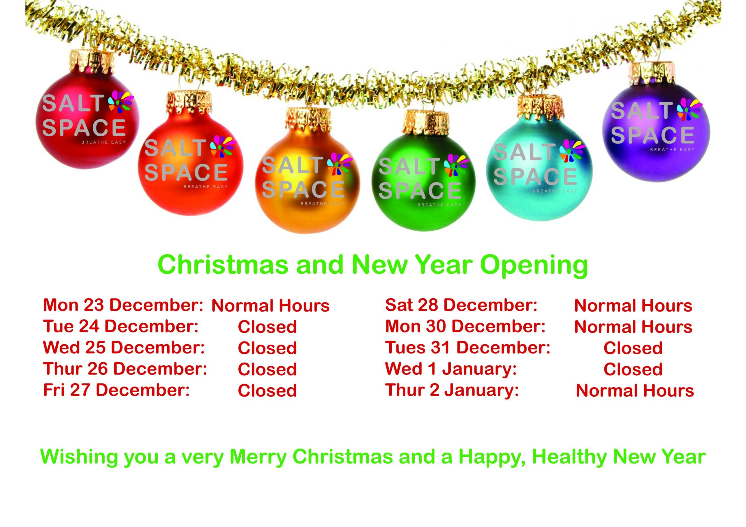 Salt Space opening times over Christmas and new year